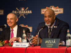 HAVANA - MARCH 21:  Major League Baseball Commissioner Robert D. Manfred Jr. and Major League Baseball Players Association Executive Director Tony Clark are seen during a press conference on Monday, March 21, 2016 at Melia Cohiba Hotel in Havana, Cuba. (Photo by Rob Tringali/MLB Photos via Getty Images)