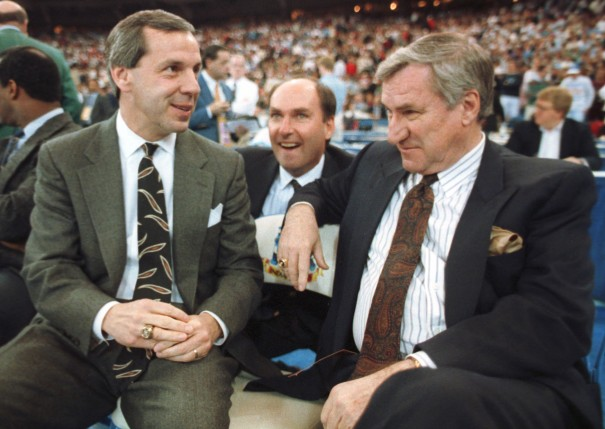 Roy Williams and Dean Smith at the 1991 Final Four in Indianapolis (with Jim Delany being way too happy about the moment in the background).