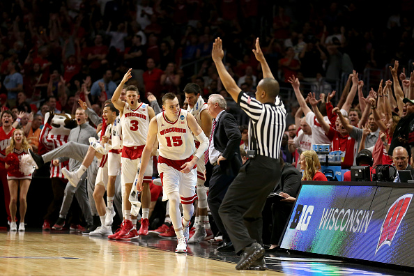 LOS ANGELES, CA - MARCH 28:  Sam Dekker #15 of the Wisconsin Badgers reacts after making a three-pointer in the second half while taking on the Arizona Wildcats during the West Regional Final of the 2015 NCAA Men's Basketball Tournament at Staples Center on March 28, 2015 in Los Angeles, California.  (Photo by Stephen Dunn/Getty Images)