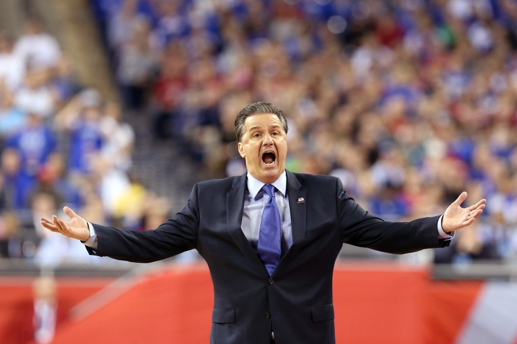 INDIANAPOLIS, IN - APRIL 04:  Head coach John Calipari of the Kentucky Wildcats reacts in the second half against the Wisconsin Badgers during the NCAA Men's Final Four Semifinal at Lucas Oil Stadium on April 4, 2015 in Indianapolis, Indiana.  (Photo by Streeter Lecka/Getty Images)