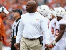 DALLAS, TX - OCTOBER 11:  Head coach Charlie Strong of the Texas Longhorns at Cotton Bowl on October 11, 2014 in Dallas, Texas.  (Photo by Ronald Martinez/Getty Images)