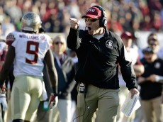 PASADENA, CA - JANUARY 01:  Florida State Seminoles head coach Jimbo Fisher reacts to a play against the Oregon Ducks during the College Football Playoff Semifinal at the Rose Bowl Game presented by Northwestern Mutual at the Rose Bowl on January 1, 2015 in Pasadena, California.  (Photo by Jeff Gross/Getty Images)