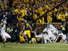 during the college football game at Michigan Stadium on October 17, 2015 in Ann Arbor, Michigan.