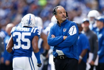 INDIANAPOLIS, IN - OCTOBER 25: Head coach Chuck Pagano of the Indianapolis Colts looks on against the New Orleans Saints during a game at Lucas Oil Stadium on October 25, 2015 in Indianapolis, Indiana. The Saints defeated the Colts 27-21. (Photo by Joe Robbins/Getty Images)