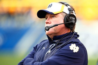 PITTSBURGH, PA - NOVEMBER 07:  Head coach Brian Kelly of the Notre Dame Fighting Irish looks on against the Pittsburgh Panthers in the fourth quarter during the game at Heinz Field on November 7, 2015 in Pittsburgh, Pennsylvania.  (Photo by Jared Wickerham/Getty Images)