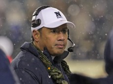 PHILADELPHIA - DECEMBER 14: Head coach Ken Niumatalolo of the Navy Midshipmen stands on the sideline during a game against the Army Black Knights on December 14, 2013 at Lincoln Financial Field in Philadelphia, Pennsylvania. Navy won 34-7. (Photo by Hunter Martin/Getty Images)
