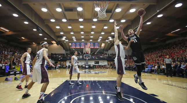 Gonzaga forward Domantas Sabonis (11) shoots over Saint Mary's center Jock Landale (34) during the first half of an NCAA college basketball game in Moraga, Calif., Thursday, Jan. 21, 2016. (AP Photo/Tony Avelar) ORG XMIT: CATA108