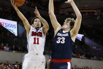 SMU guard Nic Moore (11) shoots over Gonzaga forward Kyle Wiltjer (33) during the first half of an NCAA college basketball game, Saturday, Feb. 13, 2016, in Dallas. (AP Photo/Jim Cowsert)