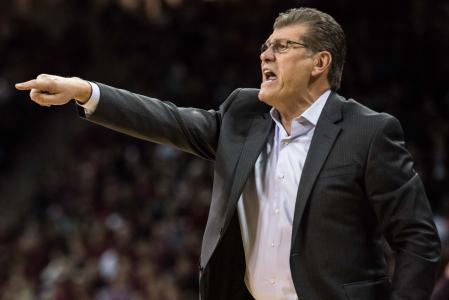 Geno Auriemma's UConn team held No. 2 and previously unbeaten South Carolina to eight points in two of the first three quarters of Monday night's romp in Columbia, S.C.