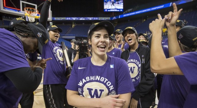 Kelsey Plum and the Huskies cheer their berth into the Final Four.  Washington and Stanford played in the Lexington Regional Final Sunday, March 27, 2016.  (Dean Rutz / The Seattle Times)