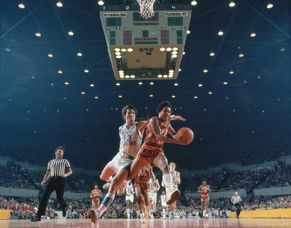 23 MAR 1972:  North Carolina guard Steve Previs (13) and Florida State guard Otto Petty (11) during the NCAA Men's National Basketball Final Four semifinal game held in Los Angeles, CA, at the Sports Arena. Florida State defeated North Carolina 79-75 to meet UCLA for the title.  Photo: © Rich Clarkson / Rich Clarkson and Associates