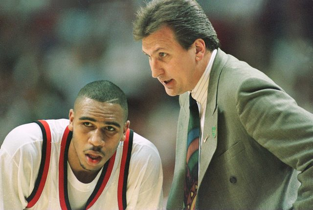 15 Mar 1996:   Head coach Bob Huggins of the Cincinnati Bearcats talks with Damon Flint during Cincinnati's game versus UNC Greensboro in the first round Southeast Regional game at the Orlando Arena in Orlando, Florida.  Cincinnati won the game 66-61.