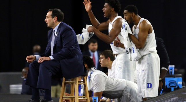 Coach K and players during Duke's win over Gonzaga in the 2015 South Regional final.