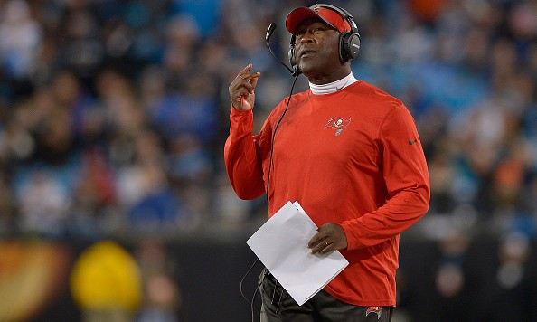CHARLOTTE, NC - JANUARY 03:  Head coach Lovie Smith of the Tampa Bay Buccaneers watches his team during their game against the Carolina Panthers at Bank of America Stadium on January 3, 2016 in Charlotte, North Carolina.  (Photo by Grant Halverson/Getty Images)