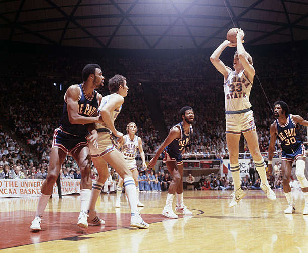 Indiana State played DePaul in the 1979 Final Four national semifinals. Re-seeding would have slid ISU over to a meeting with Penn. DePaul would have faced Michigan State.
