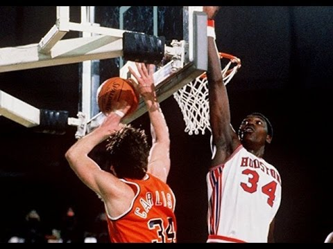 A great coach against a great player -- that's Rick Carlisle of Virginia against Hakeem Olajuwon in the 1984 Final Four national semifinals in Seattle's Kingdome. This is the last time Virginia made the Final Four.