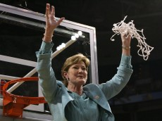 TAMPA, FL - APRIL 08:  Head coach Pat Summitt of the Tennessee Lady Volunteers celebrates cutting down the net after their 64-48 win against the Stanford Cardinal during the National Championsip Game of the 2008 NCAA Women's Final Four at St. Pete Times Forum April 8, 2008 in Tampa, Florida.  (Photo by Doug Benc/Getty Images)