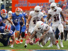 GAINESVILLE, FL - NOVEMBER 21: Sharrod Neasman #29 of the Florida Atlantic Owls recovers the loose ball after the Owls blocked the extra point attempt following the Florida Gators touchdown during overtime in the game at Ben Hill Griffin Stadium on November 21, 2015 in Gainesville, Florida.  (Photo by Rob Foldy/Getty Images)