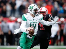 BOWLING GREEN, KY - NOVEMBER 27: Chase Litton #14 of the Marshall Thundering Herd looks to pass against the Western Kentucky Hilltoppers during the game at L.T. Smith Stadium on November 27, 2015 in Bowling Green, Kentucky. The Hilltoppers defeated the Herd 49-28. (Photo by Joe Robbins/Getty Images)