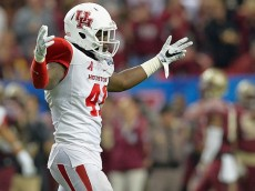 ATLANTA, GA - DECEMBER 31: Steven Taylor #41 of the Houston Cougars reacts after an interception by his teammate Trevon Stewart #23 (not pictured) in the third quarter against the Florida State Seminoles during the Chick-fil-A Peach Bowl at the Georgia Dome on December 31, 2015 in Atlanta, Georgia. (Photo by Grant Halverson/Getty Images)
