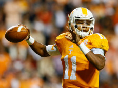 KNOXVILLE, TN - OCTOBER 25:  Joshua Dobbs #11 of the Tennessee Volunteers against the Alabama Crimson Tide at Neyland Stadium on October 25, 2014 in Knoxville, Tennessee.  (Photo by Kevin C. Cox/Getty Images)