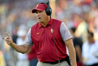 PALO ALTO, CA - SEPTEMBER 17:  Head coach Clay Helton of the USC Trojans looks on from the sidelines against the Stanford Cardinal during the first half of their NCAA football game at Stanford Stadium on September 17, 2016 in Palo Alto, California.  (Photo by Thearon W. Henderson/Getty Images)