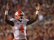 TALLAHASSEE, FL - OCTOBER 29:  Deshaun Watson #4 of the Clemson Tigers celebrates a touchdown during a game against the Florida State Seminoles at Doak Campbell Stadium on October 29, 2016 in Tallahassee, Florida.  (Photo by Mike Ehrmann/Getty Images)