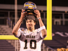 BOISE, ID - DECEMBER 22: Famous Idaho Potato Bowl MVP quarterback Matt Linehan #10 of the Idaho Vandals at the conclusion of the Famous Idaho Potato Bowl on December 22, 2016 at Albertsons Stadium in Boise, Idaho. Idaho won the game 61-50. (Photo by Loren Orr/Getty Images)