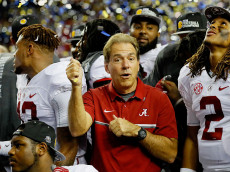ATLANTA, GA - DECEMBER 03:  Head coach Nick Saban and Jalen Hurts #2 of the Alabama Crimson Tide celebrate their 54 to 16 win over the Florida Gators during the SEC Championship game at the Georgia Dome on December 3, 2016 in Atlanta, Georgia.  (Photo by Kevin C. Cox/Getty Images)