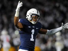 22 October 2016:  Penn State CB Christian Campbell (1) celebrates after the game. The Penn State Nittany Lions upset the #2 ranked Ohio State Buckeyes 24-21 at Beaver Stadium in State College, PA. (Photo by Randy Litzinger/Icon Sportswire via Getty Images)