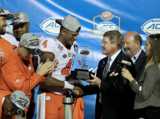 ORLANDO, FL - DECEMBER 03:  Deshaun Watson #4 of the Clemson Tigers is presented with the MVP award following the ACC Championship game against the Virginia Tech Hokies on December 3, 2016 in Orlando, Florida. The Clemson Tigers won the game 42-35.  (Photo by Sam Greenwood/Getty Images)