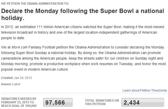 Petition to White House: Declare Monday after Super Bowl a ...