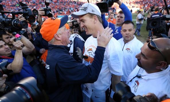John Fox Peyton Manning Celebrate AFC Championship
