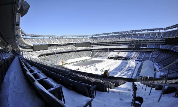MetLife Stadium Super Bowl Prep Snowy