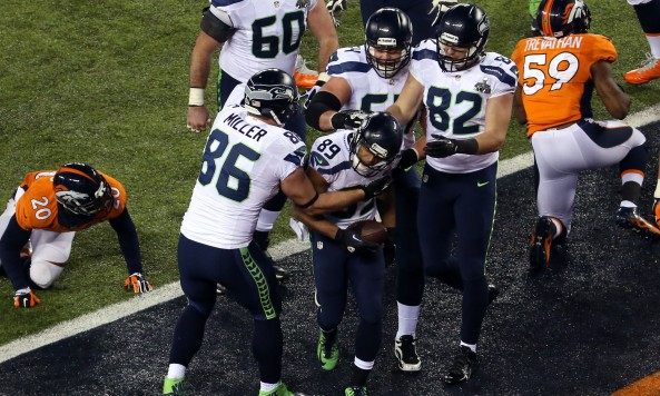 Seahawks Celebrate TD Super Bowl XLVIII