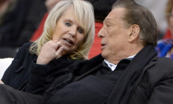 Feb 13, 2013; Los Angeles, CA, USA; Los Angeles Clippers owner Donald Sterling and wife Rochelle Sterling (Shelly Sterling) react during the game against the Houston Rockets at the Staples Center. Mandatory Credit: Kirby Lee-USA TODAY Sports