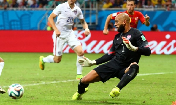 Jul 1, 2014; Salvador, BRAZIL; United States goalkeeper Tim Howard (1) fails to stop the goal by Belgium in overtime during the round of sixteen match in the 2014 World Cup at Arena Fonte Nova. Belgium defeated USA 2-1 in overtime. Mandatory Credit: Mark J. Rebilas-USA TODAY Sports