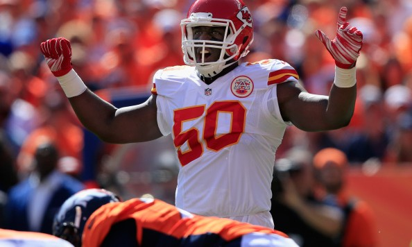 DENVER, CO - SEPTEMBER 14:  Outside linebacker Justin Houston #50 of the Kansas City Chiefs faces the Denver Broncos at Sports Authority Field at Mile High on September 14, 2014 in Denver, Colorado. The Broncos defeated the Chiefs 24-17.  (Photo by Doug Pensinger/Getty Images)