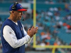 MIAMI GARDENS, FL - SEPTEMBER 27:  Head coach Rex Ryan of the Buffalo Bills looks on during a game  at Sun Life Stadium on September 27, 2015 in Miami Gardens, Florida.  (Photo by Mike Ehrmann/Getty Images)