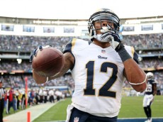 SAN DIEGO, CA - NOVEMBER 23:  Wide receiver Stedman Bailey #12 of the St. Louis Rams celebrates  after his seven yard touchdown catch in the fourth quarter against the San Diego Chargers at Qualcomm Stadium on November 23, 2014 in San Diego, California.  The Chargers won 27-24.  (Photo by Stephen Dunn/Getty Images)