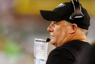 EAST RUTHERFORD, NJ - SEPTEMBER 03: Head coach Chip Kelly of the Philadelphia Eagles on the sidelines against the New York Jets in the third quarter during a pre-season game at MetLife Stadium on September 3, 2015 in East Rutherford, New Jersey. (Photo by Rich Schultz /Getty Images)