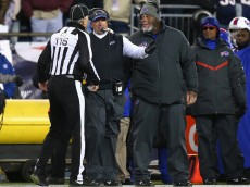 FOXBORO, MA - NOVEMBER 23:  Head coach Rex Ryan of the Buffalo Bills argues with the referee during the third quarter against the New England Patriots at Gillette Stadium on November 23, 2015 in Foxboro, Massachusetts.  (Photo by Jim Rogash/Getty Images)