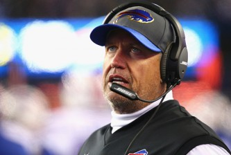 FOXBORO, MA - NOVEMBER 23:  Head coach Rex Ryan of the Buffalo Bills reacts during the third quarter against the New England Patriots at Gillette Stadium on November 23, 2015 in Foxboro, Massachusetts.  (Photo by Maddie Meyer/Getty Images)