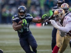 SEATTLE, WA - November 20: Running back Thomas Rawls #34 of the Seattle Seahawks runs with the ball during a football game against the San Francisco 49ers at CenturyLink Field on November 22, 2015 in Seattle, Washington. The Seahawks won the game 29-13. (Photo by Stephen Brashear/Getty Images)  *** Local Caption *** Thomas Rawls