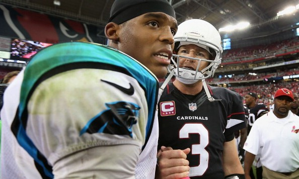 GLENDALE, AZ - OCTOBER 06:  Quarterback Carson Palmer #3 (R) of the Arizona Cardinals shakes hands with quarterback Cam Newton #1 of the Carolina Panthers following the NFL game at the University of Phoenix Stadium on October 6, 2013 in Glendale, Arizona. The Cardinals defeated the Panthers 22-6.  (Photo by Christian Petersen/Getty Images)