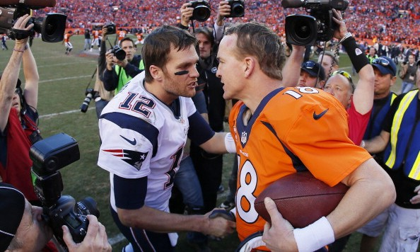 DENVER, CO - JANUARY 19:  Tom Brady #12 of the New England Patriots congratulates  Peyton Manning #18 of the Denver Broncos after the Broncos defeated the Patriots 26 to 16 during the AFC Championship game at Sports Authority Field at Mile High on January 19, 2014 in Denver, Colorado.  (Photo by Kevin C. Cox/Getty Images)
