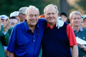 AUGUSTA, GA - APRIL 09:  Honorary Starters Arnold Palmer and Jack Nicklaus of the United States wait on the first tee during the first round of the 2015 Masters Tournament at Augusta National Golf Club on April 9, 2015 in Augusta, Georgia.  (Photo by Jamie Squire/Getty Images)