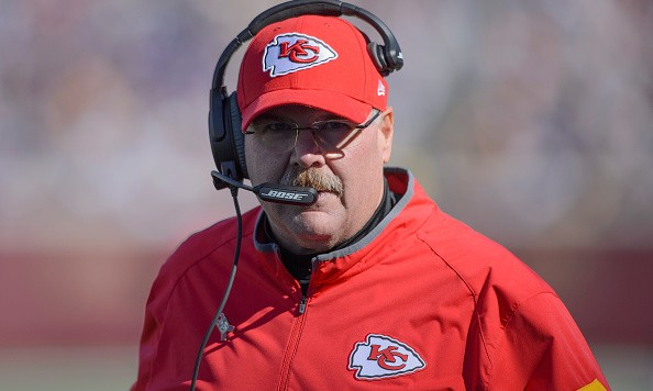 MINNEAPOLIS, MN - OCTOBER 18: Head coach Andy Reid of the Kansas City Chiefs looks on during the second quarter of the game against the Minnesota Vikings on October 18, 2015 at TCF Bank Stadium in Minneapolis, Minnesota. (Photo by Hannah Foslien/Getty Images)