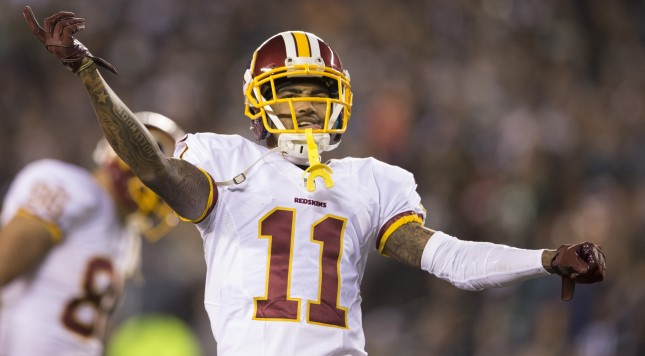 PHILADELPHIA, PA - DECEMBER 26: DeSean Jackson #11 of the Washington Redskins reacts in the game against the Philadelphia Eagles on December 26, 2015 at Lincoln Financial Field in Philadelphia, Pennsylvania.  (Photo by Mitchell Leff/Getty Images)