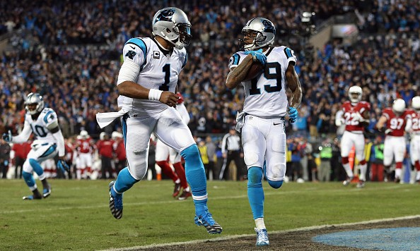 CHARLOTTE, NC - JANUARY 24:  Cam Newton #1 of the Carolina Panthers celebrates as Ted Ginn Jr. #19 scores a touchdown in the first quarter against the Arizona Cardinals during the NFC Championship Game at Bank of America Stadium on January 24, 2016 in Charlotte, North Carolina.  (Photo by Streeter Lecka/Getty Images)